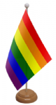 Gay Pride Rainbow Desk / Table Flag with wooden stand and base